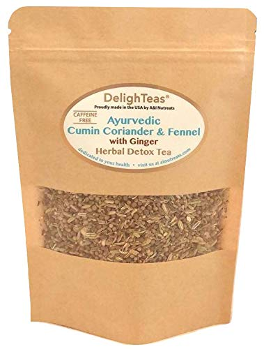 Ayurvedic Detox Cumin, Coriander and Fennel Tea with Ginger - Organic Detox Tea - Supports weight management and enhances nutrient absorption (Loose CCF Ginger, 3 oz.)