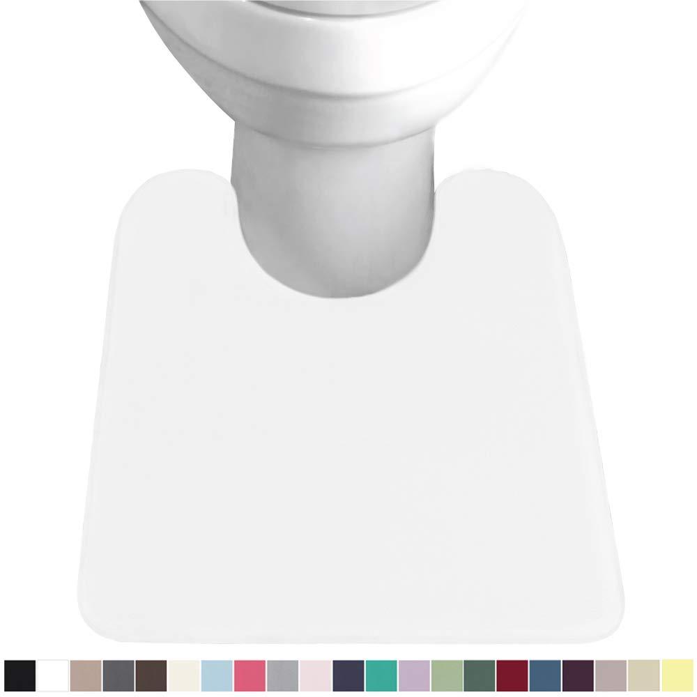 GORILLA GRIP Original Thick Memory Foam Contour Toilet Bath Rug 22.5x19.5, U Shape, Cushioned, Soft Floor Mats, Absorbent Cozy Bathroom Rugs, Machine Wash and Dry, Plush Bath Room Carpet, Bright White
