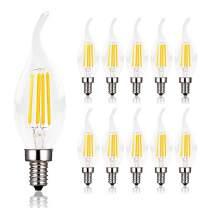 Dimmable Candelabra LED Bulb,40W Equivalent E12 Base LED,Candle Bulbs, C35 Flame Shape Bent Tip,E12 LED Bulb,4w LED Light Bulb,LED Chandelier Bulbs,2700K Warm White, Clear Glass Cover,10 Pack