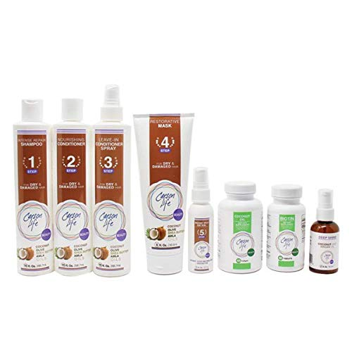 CARSON LIFE Hydrate my Hair 7 Steps System Kit for Damaged Hair (Shampoo, Conditioner, Leave In Conditioner, Restorative Mask, Biotin & Coconut Oil) - Paraben and Sulfate Free
