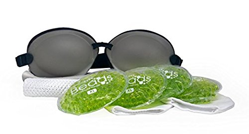 Tranquileyes XL Warm Compress with Microwavable Beads for Severe Dry Eye Relief (Charcoal)