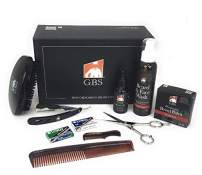 "GBS Beard Grooming and Trimming Kit for Men 9 PC - 3"" x 5"" Long Premium Vegan Beard Brush Beard Wax Balm + Wash + Beard Oil 5"" Scissors 5"" Long Folding Razor Shavette Mustache and 7"" Combs + Blades"