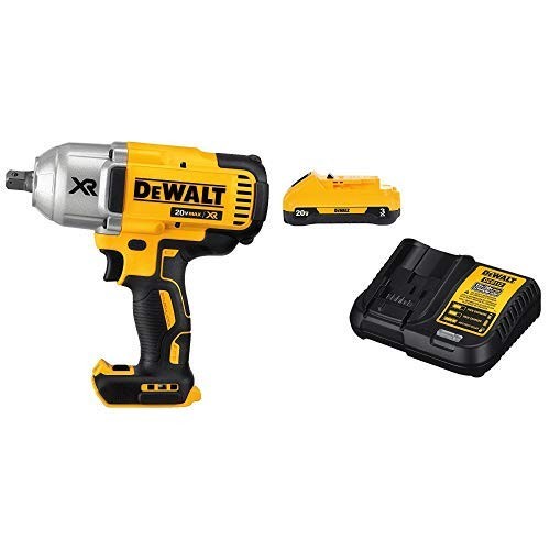 "DEWALT DCF899B  20v MAX XR Brushless High Torque 1/2"" Impact Wrench with Detent Anvil (Tool Only) with DCB230C 20V Battery Pack"