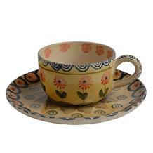 Festa Dinnerware – Latte Cup and Saucer w/Floral Art Design Set of 2 - Festive Dinnerware made of Italian Dinnerware Set of 2 Flowery Hand Painted Ceramics