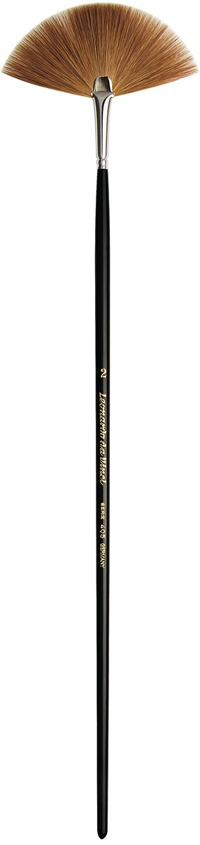 da Vinci Varnish & Priming Series 405 Fan Blender Brush, Kolinsky Red Sable with Black Polished Handle, Size 2