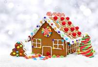 Laeacco Gingerbread House Backdrops 5x3ft Merry Christmas Photography Background Snow Scene Abstract Bokeh Shiny Halos Baby Girl Children Photo Background Studio Props