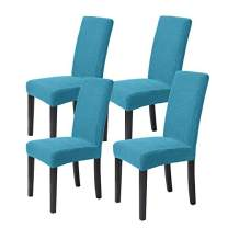 ManMengJi Dining Room Chair Covers, 4-Pack Stretch Jacquard Kitchen Chair Slipcover, Washable Parson Chair Slipcovers, Chair Protector Covers for Hotel, Restaurant, Ceremony (Lake Blue)