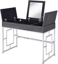 EXTRORDINARY LIVING Dressing Dresser with Built in USB Outlet Port Table Vanity Desk Flip Top Mirror Glass Organizers Makeup Station Modern Home Office Multifunctional (Black)