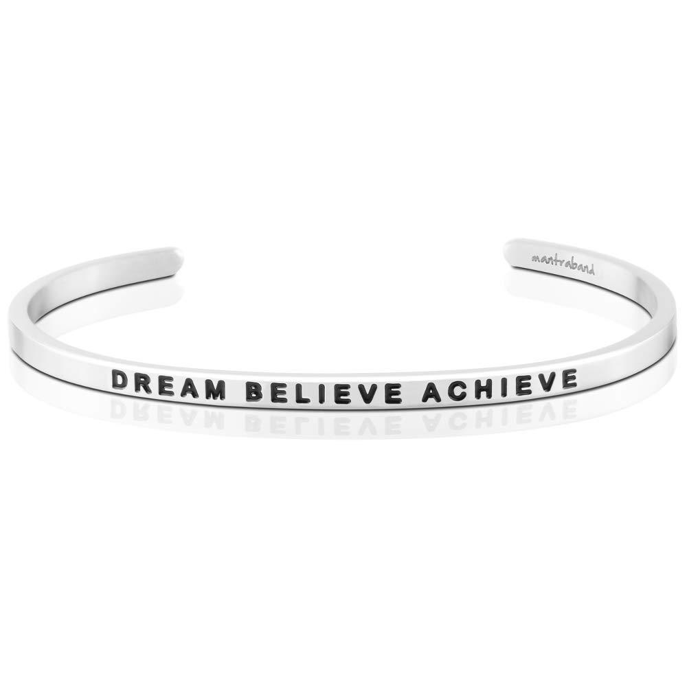 MantraBand Bracelet - Dream Believe Achieve - Inspirational Engraved Adjustable Mantra Band Cuff Bracelet - Silver, Gold, Rose Gold - Gifts for Women