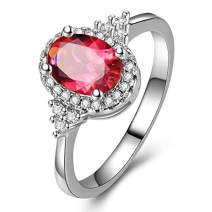 Red Garnet Gemstones Rings For Women Cubic zirconia 925 Sterling Silver Engagement Ring For Girls (Red 7)