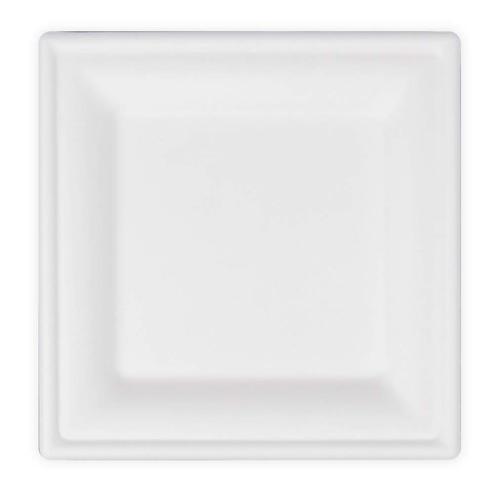 Sugarcane Bagasse Compostable Eco-Friendly Biodegradable Square Plates - Heavy Duty Microwave Safe   Durable and Multipurpose Plates For Appetizers, Birthdays and Parties (100 Pack)