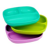 Re-Play Made in USA 3pk Divided Plates with Deep Sides for Easy Baby, Toddler, Child Feeding - Aqua, Lime Green and Purple (Mermaid)