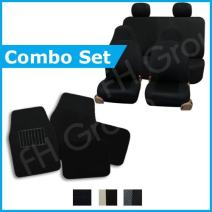 FH GROUP FH-FB102114 + C14403 Combo Set: Black Classic Cloth Seat Covers and Black Carpet Floor Mats- Fit Most Car, Truck, Suv, or Van