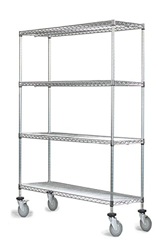 """14"""" Deep x 30"""" Wide x 80"""" High 4 Tier Chrome Wire Shelf Truck with 1200 lb Capacity"""
