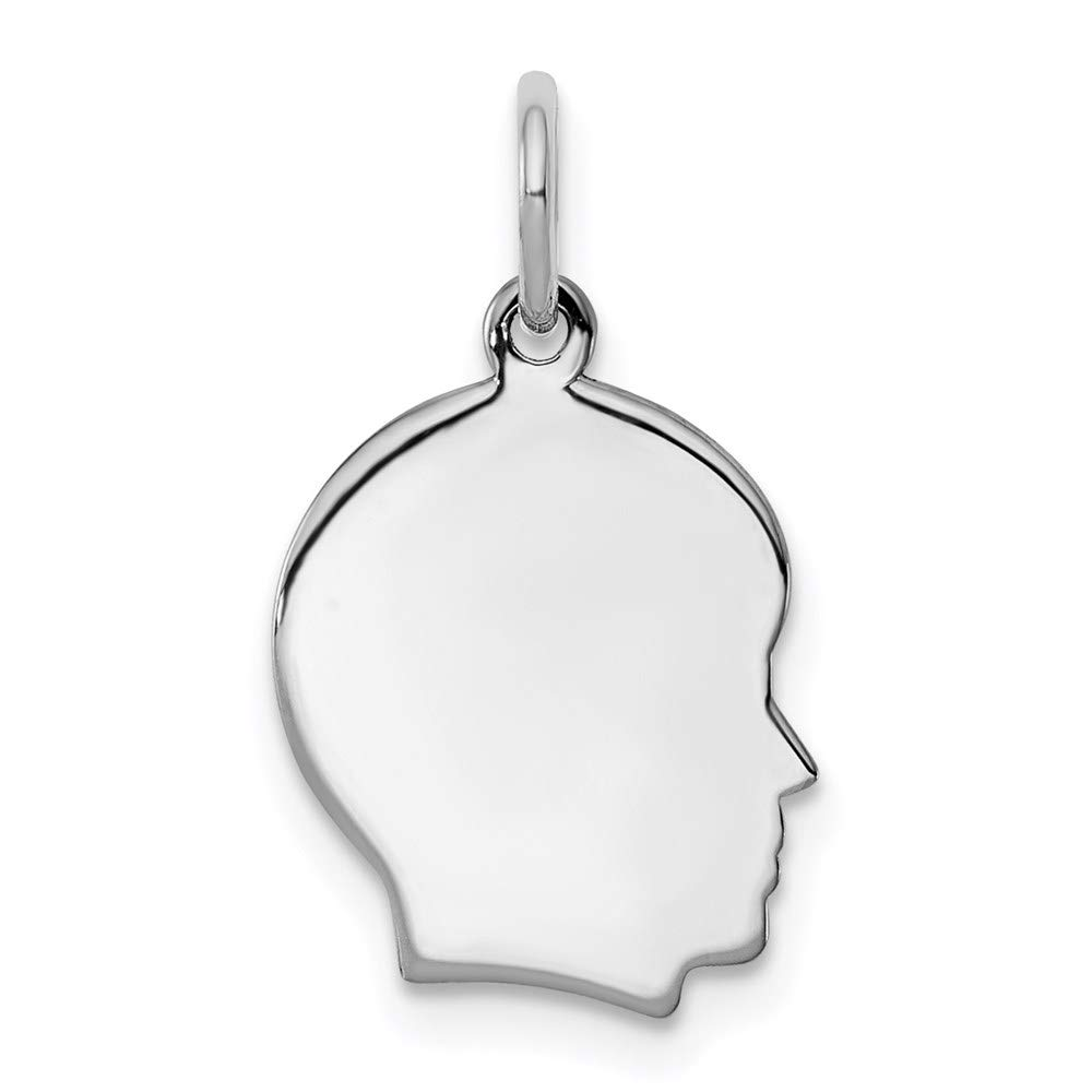 Sterl Silver Rh Plt Engraveable Boy Front Back Disc Pendant Charm Necklace Engravable Right Facing Girl Head Fashion Jewelry For Women Gifts For Her