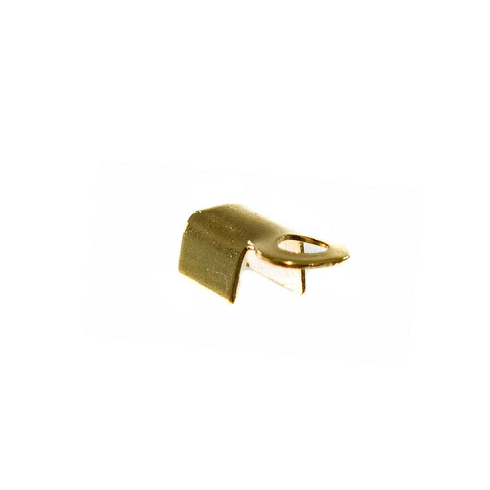 Metal Fold Over Crimp Ends with Prong Packs – 144-Pack of Connection Pieces for Rattail Cord (Gold, 3 X 4mm)