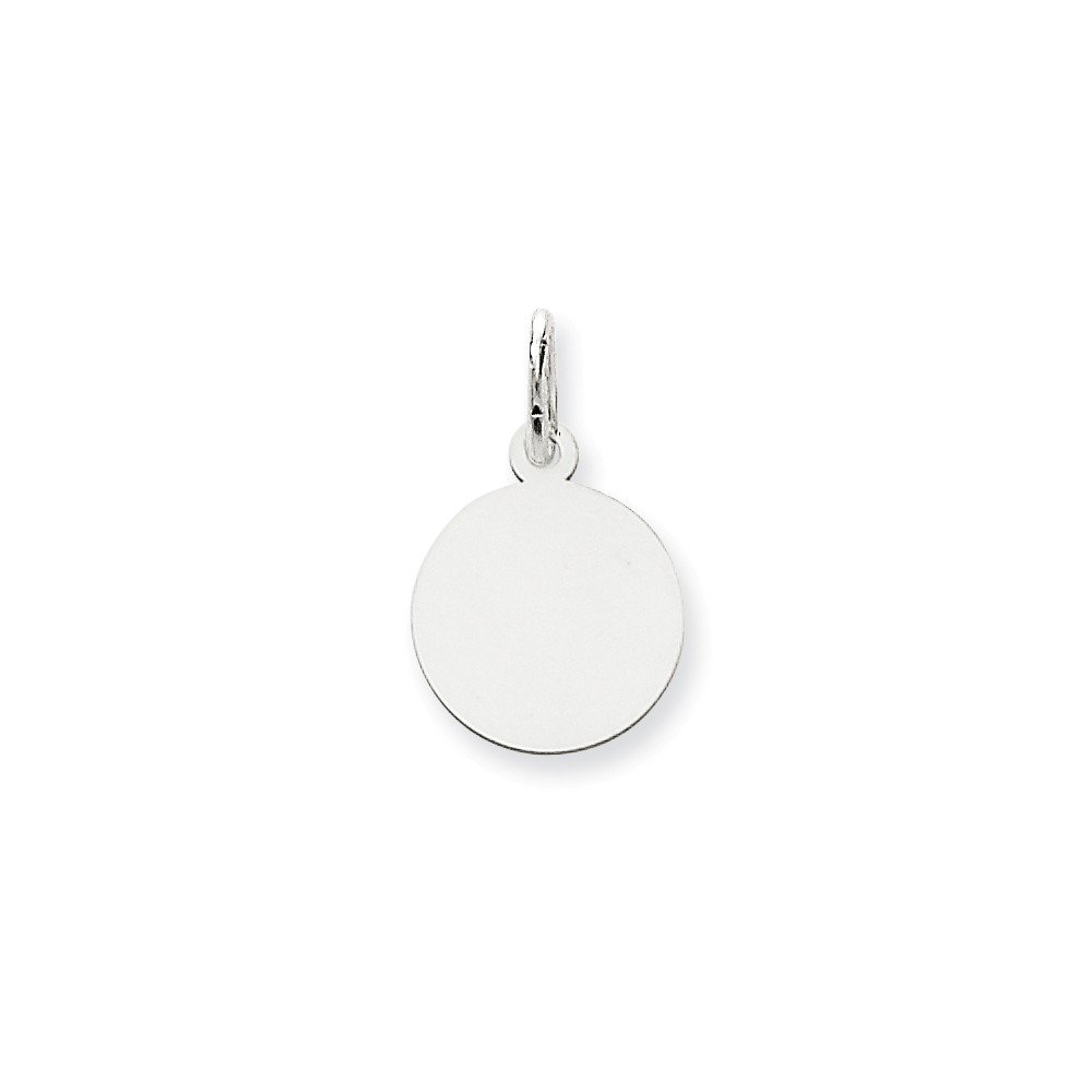 14k White Gold Round Disc Pendant Charm Necklace Engravable Plain Fine Mothers Day Jewelry For Women Gifts For Her