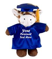 Plushland Plush Stuffed Animal Toys 12 Inches Present Gifts for Graduation Day, Personalized Text, Name or Your School Logo on Gown, Best for Any Grad School Kids (Graduation Giraffe Blue Gown)