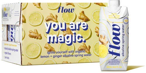 Flow Alkaline Spring Water, Organic Lemon + Ginger, 100% Natural Alkaline Water pH 8.1, Electrolytes + Essential Minerals, Eco-Friendly Pack, 100% Recyclable, BPA-Free, Non-GMO, Pack of 12 x 500ml