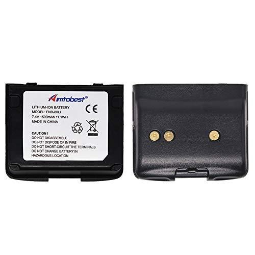 1500mAh Li-ion Battery Compatible for Vertex VX-5R VX-6R VX-7R VXA-700 VXA-710 Standard Horizon HX460S HX460SS HX470S HX471 HX471S HX471SS FNB-80Li FNB-58Li 2Pack