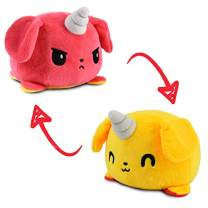 TeeTurtle | The Original Reversible Puppicorn Plushie | Red and Yellow | Patented Design Show Your Mood Without Saying a Word!