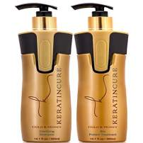 Keratin Cure Best Treatment Gold and Honey Bio Protein Kit 2 Piece 10 oz Silky Soft Hair Formaldehyde Free Complex with Argan Oil Nourishing Straightening Damaged Dry Frizzy w/Pre-Treatment Shampoo