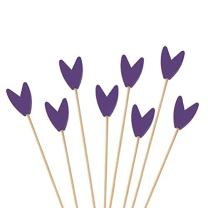 "BambooMN Premium Decorative Tulip End Cocktail Fruit Sandwich Picks Skewers for Catered Events, Holiday's, Restaurants or Buffets Party Supplies - Purple, 3.9"", 100 pcs"