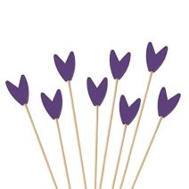 """BambooMN Premium Decorative Tulip End Cocktail Fruit Sandwich Picks Skewers for Catered Events, Holiday's, Restaurants or Buffets Party Supplies - Purple, 3.9"""", 300 pcs"""