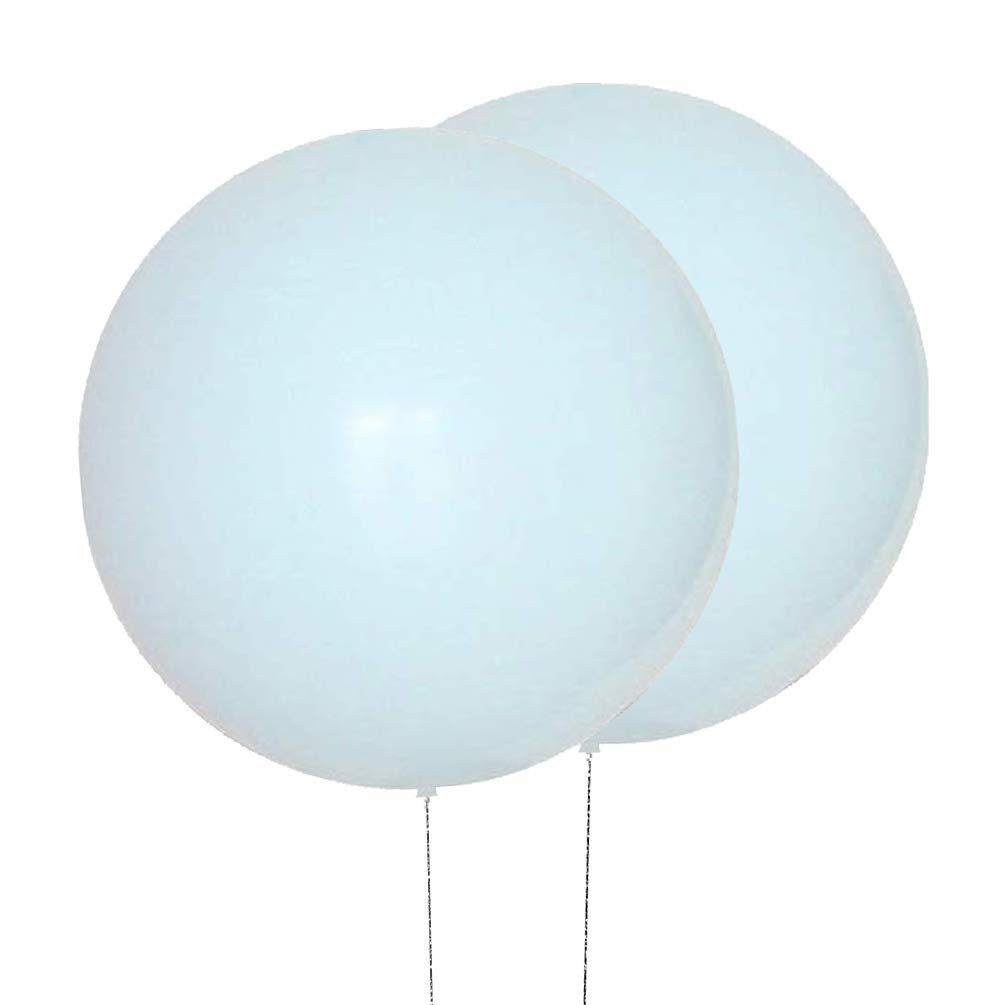 AZOWA 36 Inch Big Round Latex Balloons (Macaron Blue, 5 Pack)