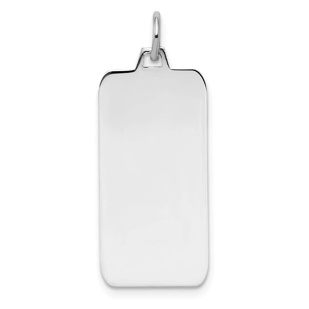 925 Sterling Silver Rhod Plate Eng. Rect. Polish Front Back Disc Pendant Charm Necklace Engravable Square Rectangle Rectangular Fine Mothers Day Jewelry For Women Gifts For Her