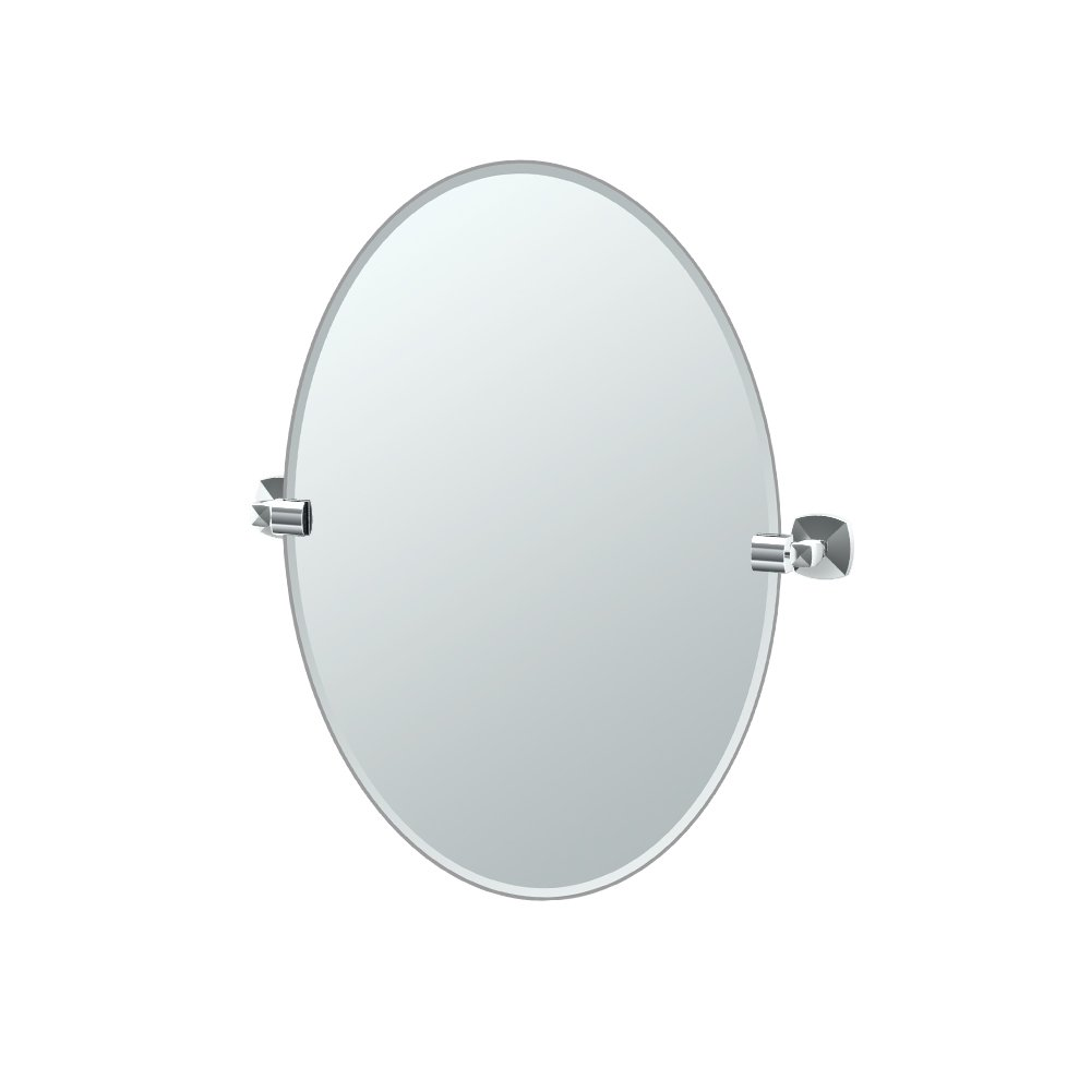 "Gatco 4149 Jewel Frameless Oval Mirror, Chrome, 26.5""H"