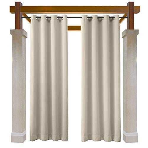 Macochico Thermal Insulated Privacy Protection Lightproof Home Fashion Water Repellent Curtains Extra Long Indoor Outdoor for Patio Gazebo Garden Backyard Living Room 84Wx 120L Beige (1 Panel)