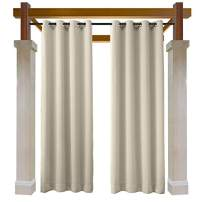 Macochico Beige Outdoor Curtains 84W x 96L for Patio Gazebo Cabana Library Hotel Club Classroom Kids Room Water Repellent Blackout Drapes Dustproof Thermal Insulated Noise Buffer(1 Panel)