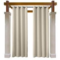 Macochico Outdoor Water Repellent Curtains Panels Beige Solid Color Thermal Insulated Privacy Protection Grommet Blackout Drape for Patio Garden Backyard Gazebo Porch 52W x 63L (1 Panel)