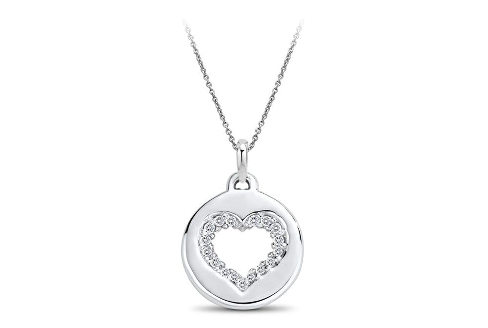 Ritani 0.07 CTW Diamond Heart Disc Pendant in Sterling Silver