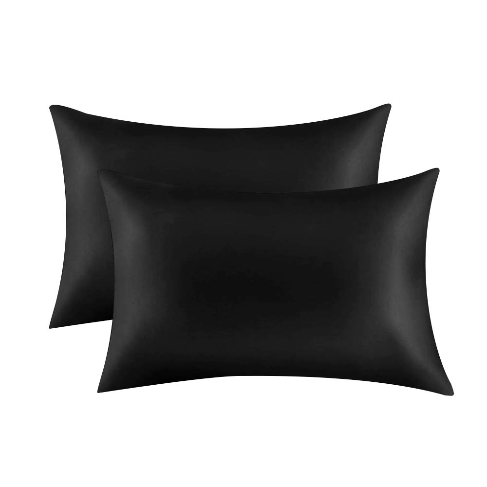 Pillowcases for Hair and Skin, Pillow Covers with Envelope Closure, Peach Skin, Soft, and Cozy, Wrinkle, Stain Resistant,2 Pack (King 20''x36'', Black)