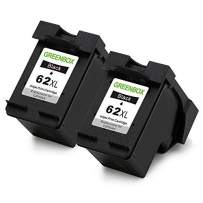GREENBOX Re-Manufactured for HP 62XL 62 XL Ink Cartridge (2 Black) Used in Envy 5540 5660 5643 5640 7640 Officejet 5740 5742 5745 OfficeJet 200 250 Mobile Printer