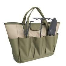Garden Tool Bag, Heavy Duty Canvas Tool Storage Home Organizer Gardening Tool Kit Holder (Army Green)