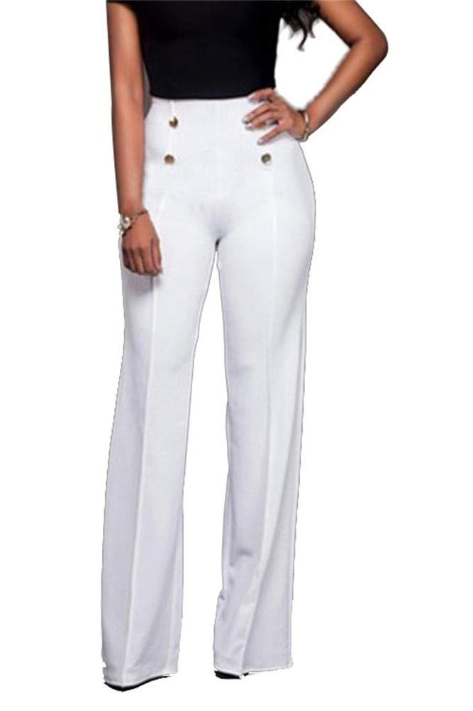 LROSEY Women's Sexy Button Down Stretchy Straight Leg High Waisted Long Pants Flare Trousers Plus Size