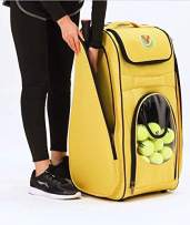 New Adventure to Tennis Play - TennisPUB (10 balls included) Ball Hopper (storing 200+ balls) on Wheels, Tennis Bag for 2 rackets, Easy Pickup Basket & Travel cart; No more struggle bending for balls!