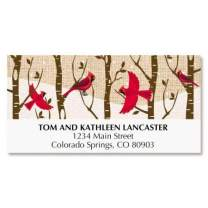 Cardinal Forest Christmas Address Labels - Set of 48, Large Self-Adhesive, Flat-Sheet Labels
