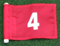 """ShopTJB White Numbered #4 Printed on a Solid Red Jr. (8"""" L x 6"""" H) 400 Denier Pin Marker Flag for Golf & Putting Green Applications"""