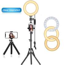 "EEIEER Ring Light, 6"" Selfie Ring Light with Non-Rust Iron Tripod Stand, Mini LED Camera Circle Light with Cell Phone Holder Desktop LED Lamp USB Adapter (White, 6inch-Steel, New Upgraded)"
