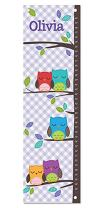 Growth Chart for Girl, Personalized Height Ruler, Nursery Playroom Toddler Bedroom Décor, Gingham Print Owl