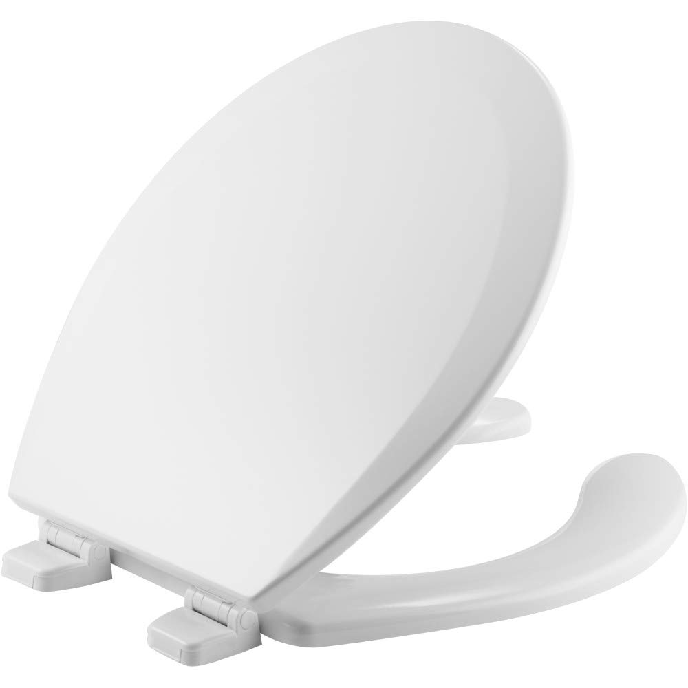 BEMIS 550TTT 000 Open Front Toilet Seat will Never Loosen and Provide the Perfect Fit, ROUND, Durable Enameled Wood, White
