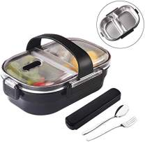 Insulated Bento Box,2 Compartments Black Bento Lunch box with Portable utensils,Stainless Steel thermos Bento Lunch Box Leakproof Food Meal Prep Container for Kids, Adults, Men, Women(Black)