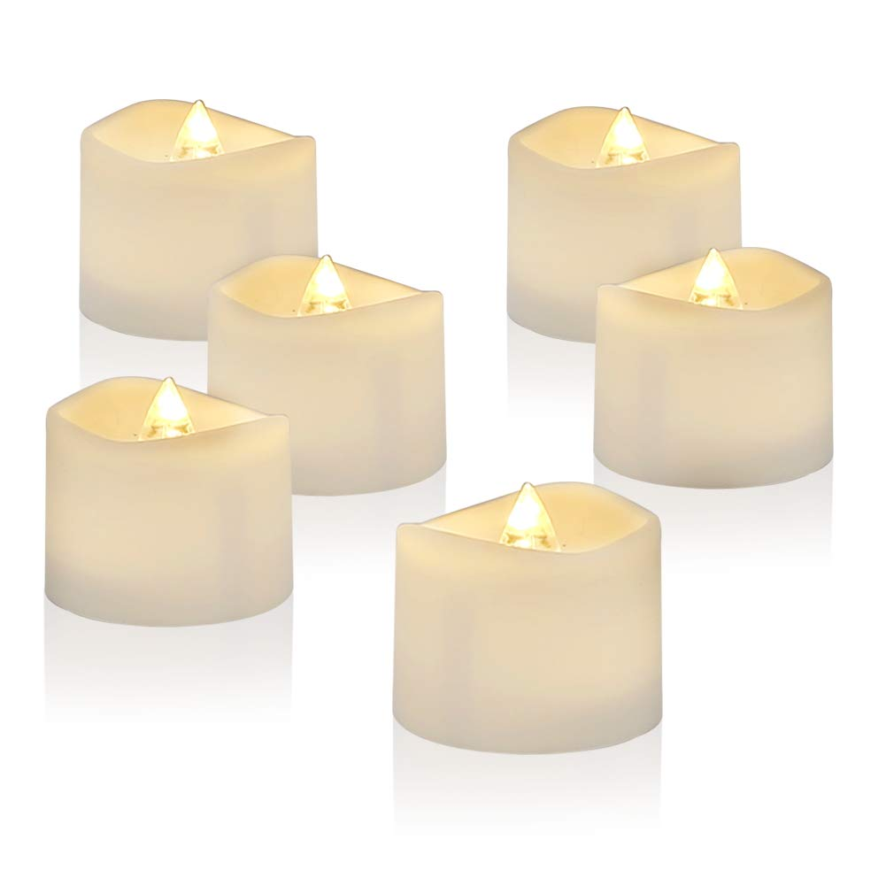 Amagic LED Tea Light Candles 12 Pack, Battery Tea Lights Bulk Flickering with Warm White, Electric Tealights Candles for Easter Decor, Durable Batteries with Long Lifetime, D1.4'' H1.25''