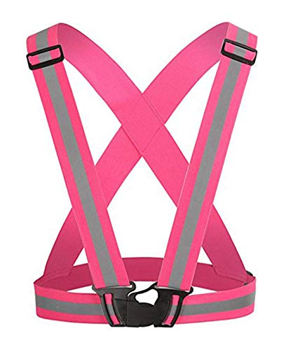 Adjustable Reflective VestSafety Vest Elastic for Running, Jogging, Walking, Cycling Fits over Outdoor Clothes from Zaptex (Pink)