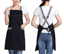 BUTEFO Crossback Apron with Large Pockets for Women Men Unisex Adults Waterdrop Resistant Adjustable Comfortable for Cooking Baking Pottery Apron Chef Women Apron Black