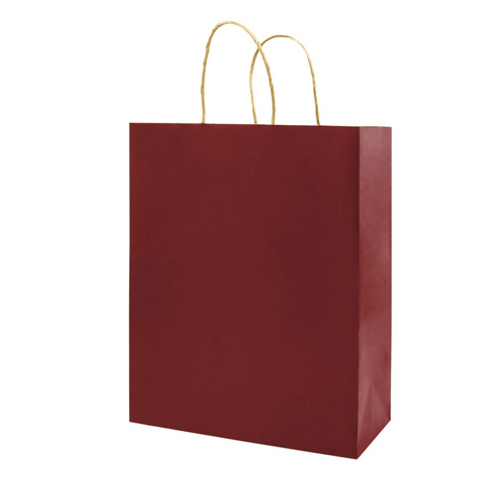 Medium Red Gift Paper Bags with Handles Bulk, Bagmad Kraft Bags 8x4.75x10 inch 100 Pcs Pack, Craft Grocery Shopping Retail Party Wedding Bags Sacks (Red, 100pcs)